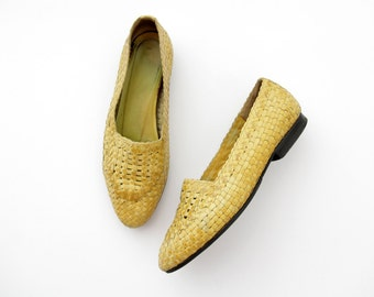 Vintage Shoes // Woven Leather Yellow Flats