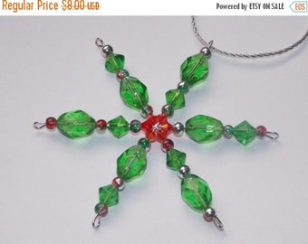 25%OFF Faceted Green Glass Christmas Ornament