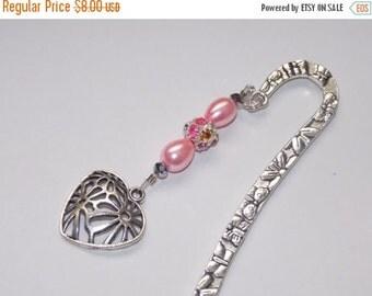 25%OFF Pink Teardrop Pearl Heart Bookmark