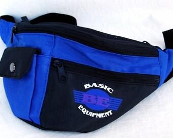 Vtg 4 pocket Fanny Pack Blue Black Basic Equipment Nylon Belt Waist Wallet 80s 90s