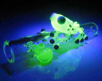 UV Reactive Glass Frog Chillum