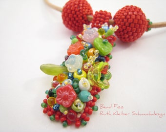 Colorful Bead Embroidery Necklace, Spring Flower Pendant, Red Necklace, Red Beaded Beads, Leather Cord with Colorful Pendant Spring Meadow