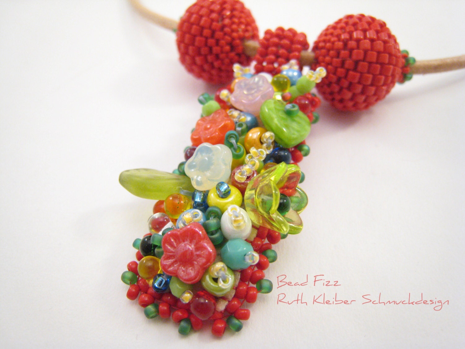 Colorful bead embroidery necklace spring flower pendant red