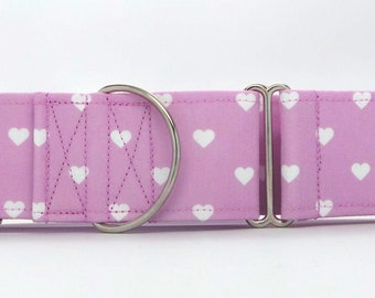 Swiss Hearts LAVENDER Dog Collar (Martingale, Buckle, or Tag)