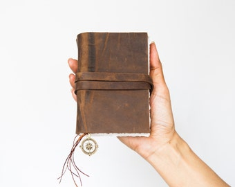 Small leather Journal, Pocket notebook,Rustic leather journal with Compass Charm