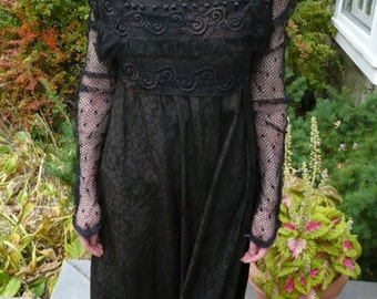 """Late Victorian or Edwardian """"Regency Style"""" Gown, Black Silk Early Century Antique, Silk, Lace, Ball Trim, Fringe, Netting, Best Offer"""