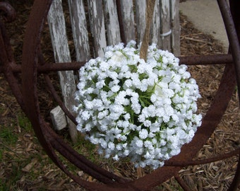 Large Rustic Babies Breath White Kissing Ball, Flower Girl,Pomander,Rustic Wedding,Limited Stock