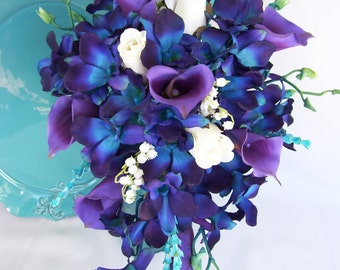 Jade's Cascade Bridal Bouquet with Wispy Turquoise Accents, Purple Picasso Calla Lilies, Blue Violet CA Dendrobium Orchids,Hydrangeas