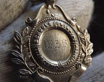 Vintage Sterling Silver Watch Fob Medal Hallmarked 1935  by William Adams