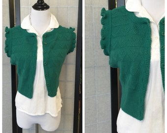 Vintage Sweater Vest/ Bobbie Brooks green 70's Shrug