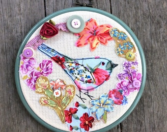 Spring bird and flowers fabric collage, wall hanging. Fabric art, collage, embroidery, applique, stiching, home decor, picture, frame