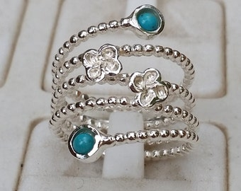 Turquoise Silver Ring , Sterling Silver Ring, Statement Ring, Handmade Gemstones Ring, Open Silver Ring, Stackable Ring, Valentine's Day