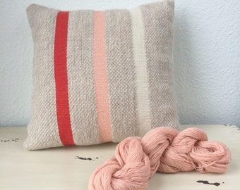 "Handwoven Throw Pillow // Striped Decorative Throw Pillow in Beige, Natural, Pink, Coral Stripes -  13"" x 13"""