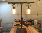 Pipe & Mason - Industrial Pipe table lamp with Mason Jar enclosures For MARK
