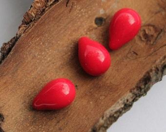 Opaque Red Drops 6x9mm (25pcs) Czech Glass Drop Beads Briolette