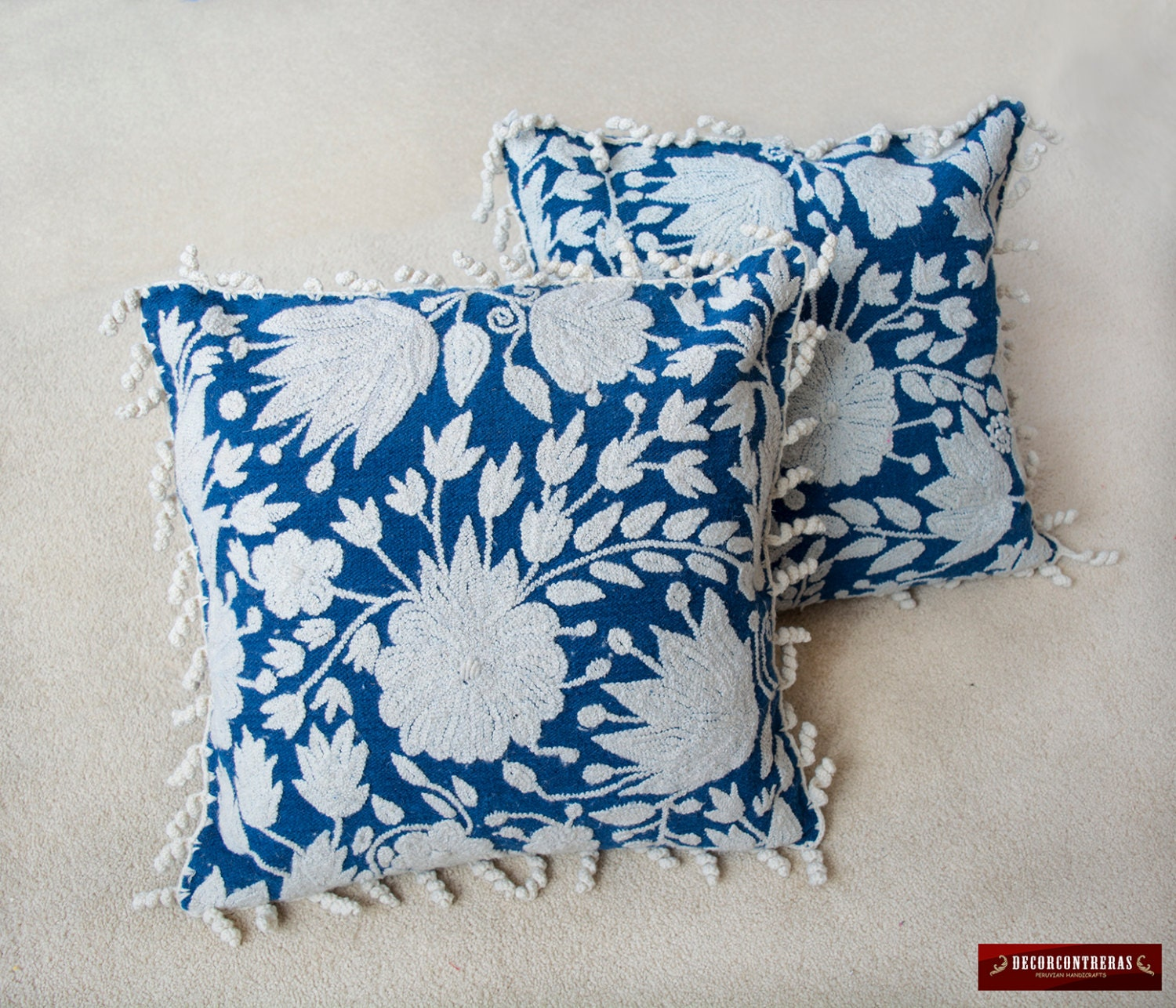 Embroidered Throw Pillow Covers : Embroidered floral Throw pillow cover 18 Pair Chair