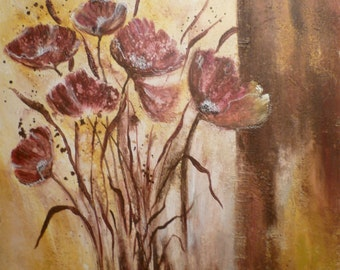 original large painting poppies flowers modern art painting acrylic painting canvas on strecher ready to hang