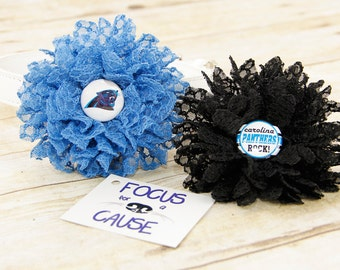 Carolina Panthers, Honeycomb Lace Dog Collar Flower, Blue Attachment, (Collar not included), Collar Flower, Dog Accessory, Photograpy Prop
