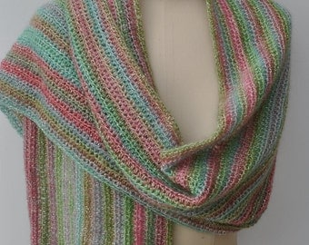 Crocheted scarf/shawl in pinks and greens