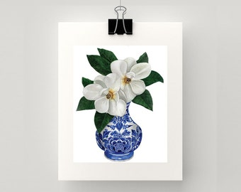 REPRODUCTION PRINT Blue and white vase with magnolias watercolour print