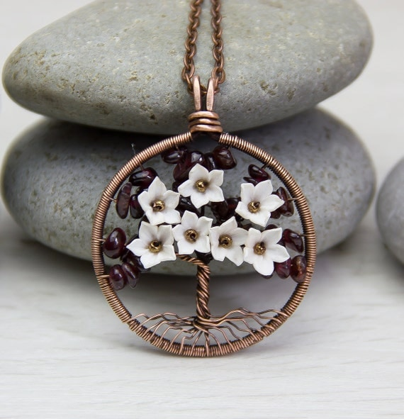 """Tree-Of-Life Necklace Pendant 1,6"""" Garnet Stone Copper Wire Wrapped Pendant Brown Wired Copper Jewelry ModernTree   Necklace Rustic"""