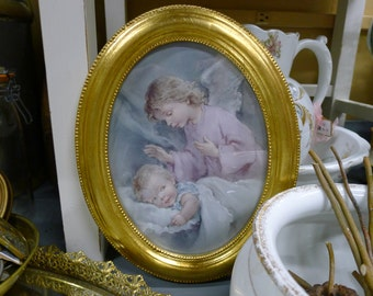 Guardian angel print in gold oval frame - Italy