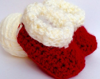Baby Shoes - Crib Shoes - Baby Booties - Baby Boots - Crochet Booties - Crochet Boots - Crochet Shoes - Soft Baby Shoes -Christmas Baby Prop