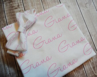Personalized baby name headband and name blanket set: baby and toddler personalized name newborn hospital gift baby shower gift