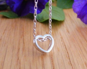 Dainty heart necklace - tiny heart pendant on a delicate sterling silver chain, Layering Necklace, AM 854