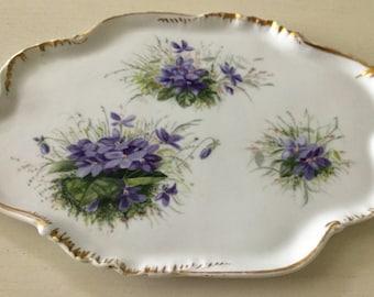 Vintage CFH GDM  Haviland Limoges violet floral tray made in France