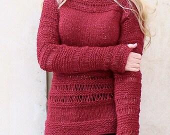 Knit sweater.Burgundy Sweater. Hand knit sweater.Woman sweater. Burgundy sparkle sweater