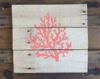 READY TO SHIP-Coral painted on pallet wood
