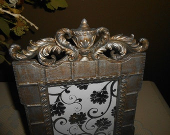 Vintage, Picture Frame, Upcyled, Gold and Silver, Hand Painted, Resin, Baroque, Ornate, Hollywood Regency, Distressed