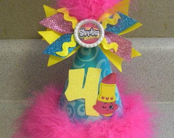 shopkins birthday party hat with removable bottlecap hairbow any age