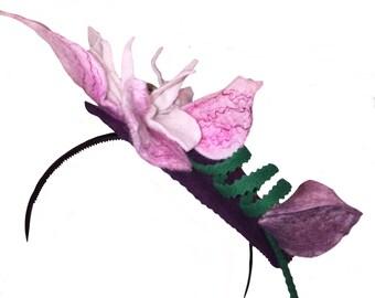 Fascinator with felt magnolia