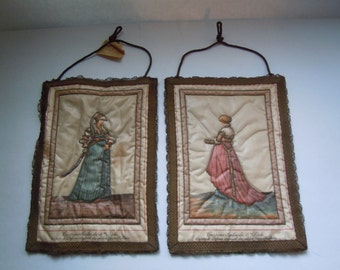 Rare Vintage Quilted Rosel Wall Hangings (2) Made in Germany