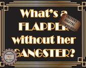 Flapper Gangster Sign Roaring 20s Prohibition Era Art Deco Gatsby Inspired Gold Black White Wedding Centerpiece Party Wall Art Decoration