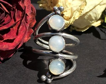 925 Sterling Silver Overlay Moonstone Ring Wrap-Around  Ring, 925 Sterling Silver Moonstone Ring, statement ring, Twilight Moonstone Ring,
