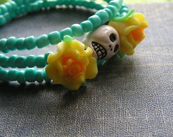 Day of the Dead Bracelet Frida Sugar skull 3 loops Mexican style Gothic Yellow flowers
