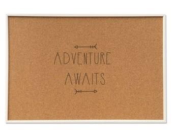 inspiration travel cork board - Adventure Awaits - includes push pins