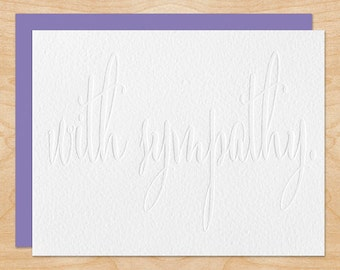With Sympathy Note Card - Sympathy Card - Blind Emboss - Modern Calligraphy