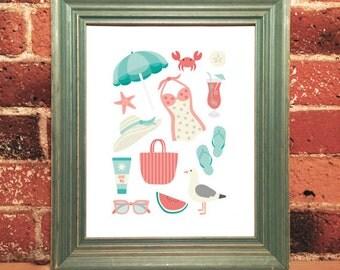 Illustrated Beach Print