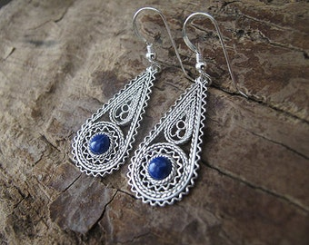 Silver Filigree earrings,Silver earrings, Filigree earrings, Lapis earrings, Israel jewelry, Ethnic earrings,Lapis silver earrings