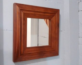 Mirror, Square, Wood Frame, Wall Mirror, Vintage