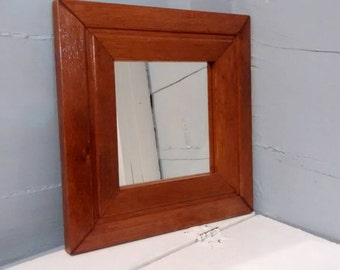 Mirror, Square Mirror, Wood Frame, Wall Mirror, Vintage