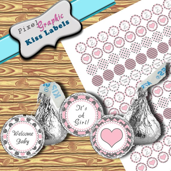 Hershey Kiss Label It's A Girl Baby SHower Printable, Baby ...
