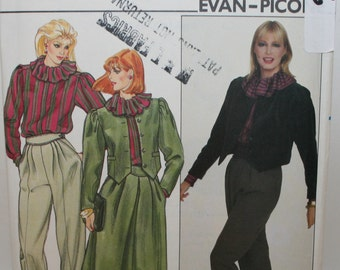 Butterick 4526, Misses 1980s Ruffled Blouse, 1980s Jacket and Pants, 1980s Skirt, Vintage Sewing Pattern in Inches and CMs, Size 10, UNCUT