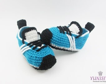 Crochet Baby Sneakers, Crochet baby shoes, Baby shoes, Baby Sports Shoes, Baby shower gift, choose size, Turquoise