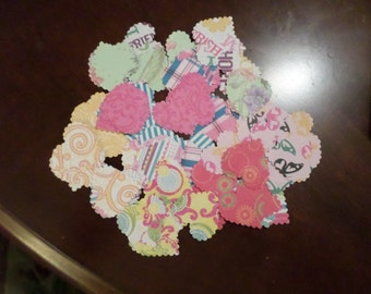 108 Scalloped edged scrapbook paper hearts