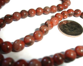 Red Sesame jasper 6mm 8 mm strand of jasper beads destash for jewelry making natural polished red sesame jasper round beads 15 inch strand
